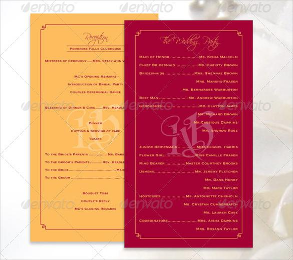 Colorful Wedding Program Template For Download