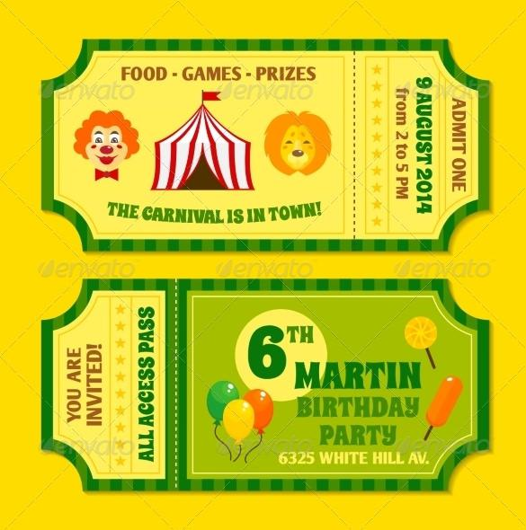 Colourful Circus Tickets Template EPS Format