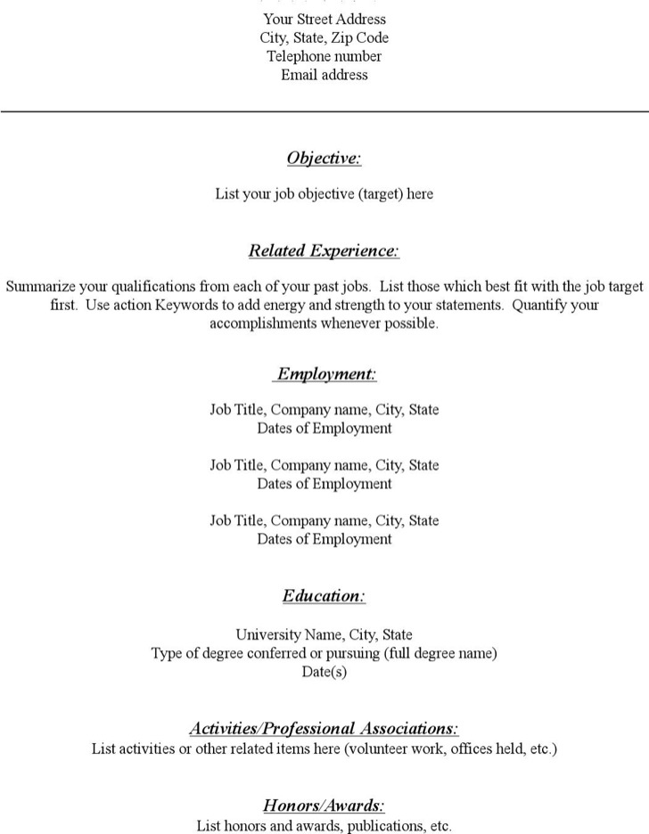 Blank Resume Templates  Download Free  Premium Templates Forms