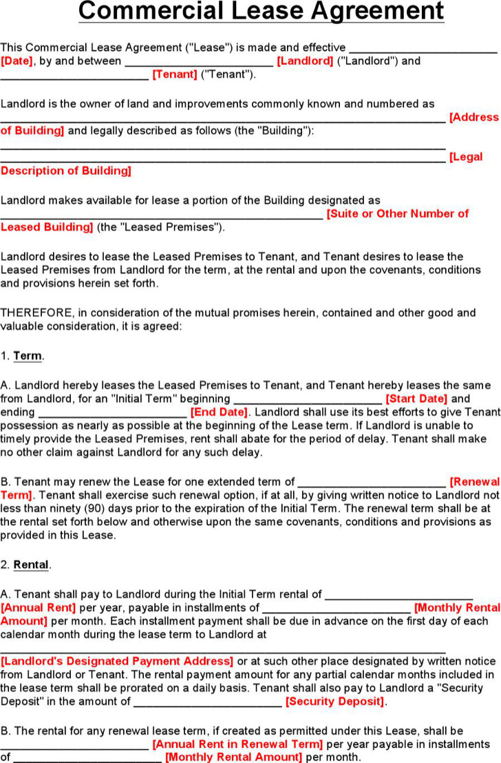 sample commercial lease agreement template – Commercial Lease Agreement Free Download