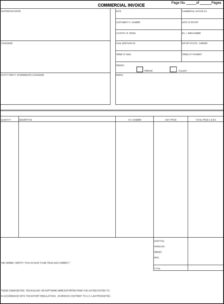 Commercial Invoice Template | Download Free & Premium Templates