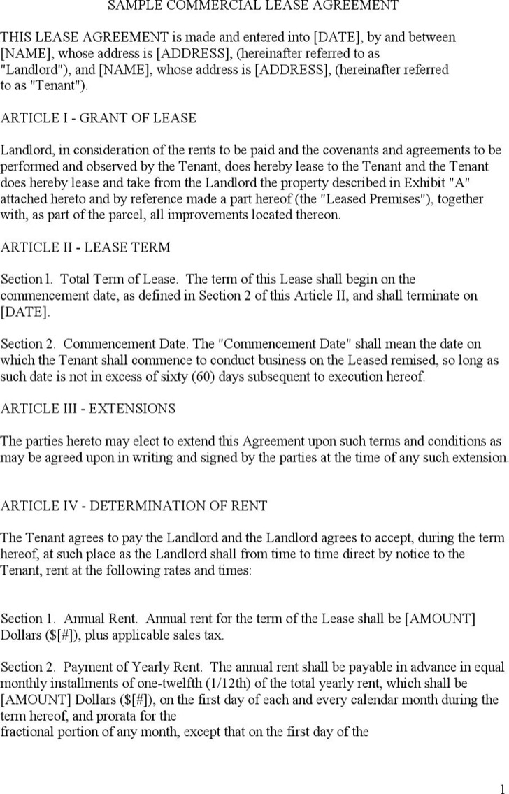 Sample Commercial Lease Templates | Download Free & Premium ...