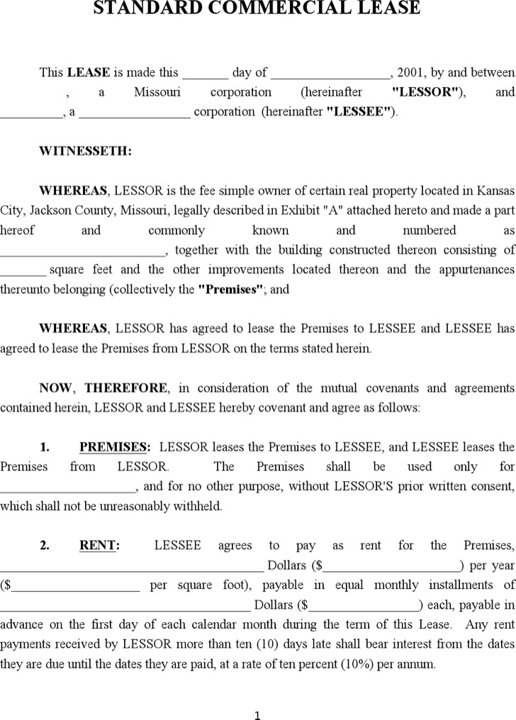 Sample Business Lease Templates – Lease Templates