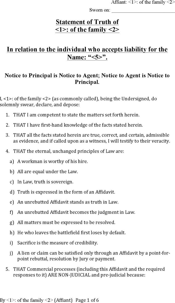 Affidavit of Truth – Affidavit Statement of Facts