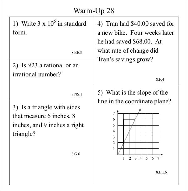 Common Core Math WarmUp Program Sheet PDF Format Download