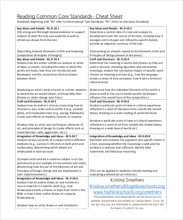 Download Common Core Sheet Template in Word20