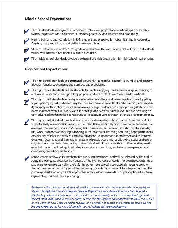 Common Core State Standards Math Sheet PDF Format Download
