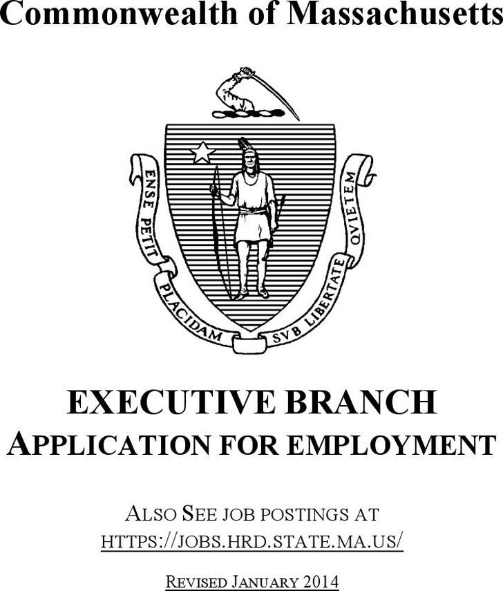 Commonwealth of Massachusetts Executive Branch Application for Employment