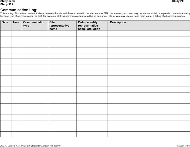Communication Log Template  Download Free  Premium Templates