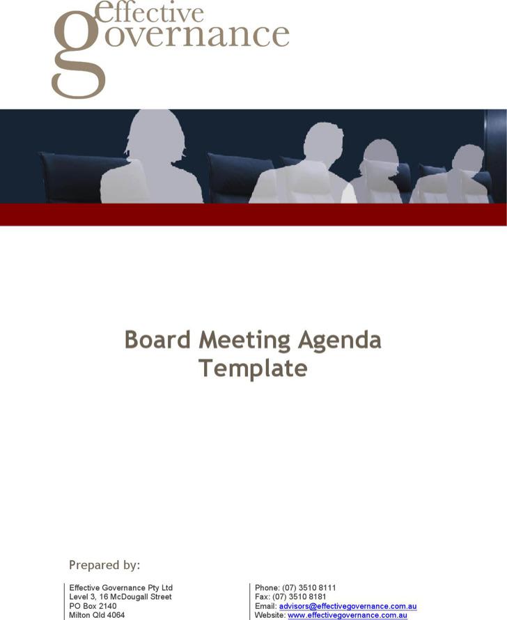Company Board Meeting Agenda Template