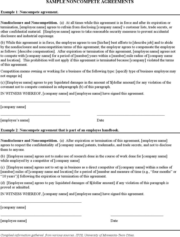 Sample Non Compete Agreements Free Non Compete Agreement Form