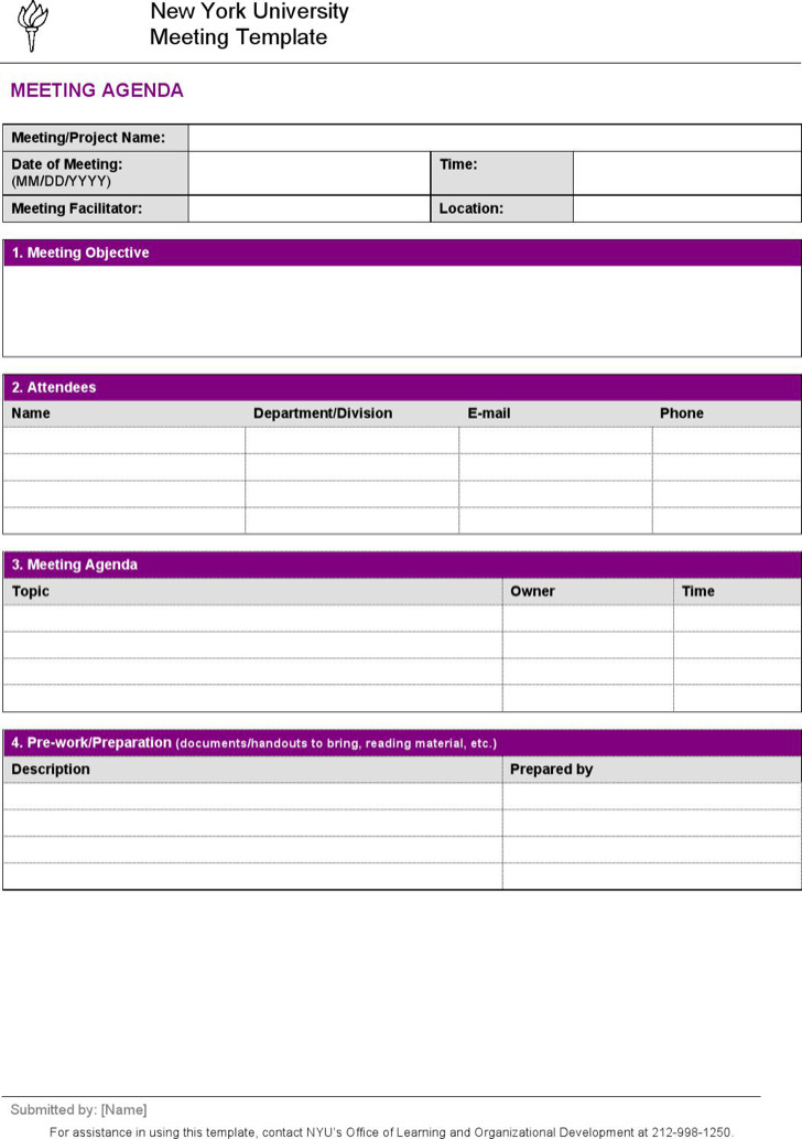 Company Project Meeting Agenda Template