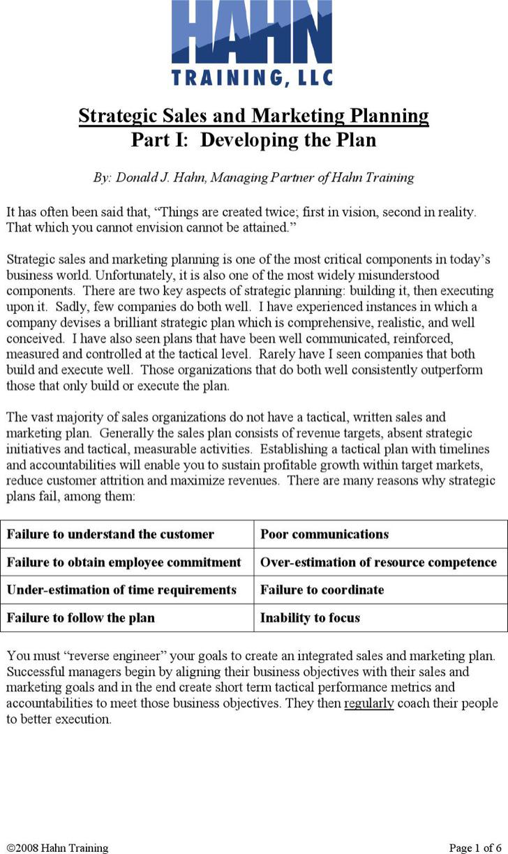 Company Strategic Sales Plan