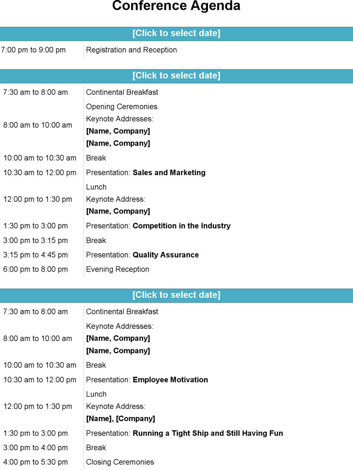 Conference Agenda Template | Download Free & Premium Templates
