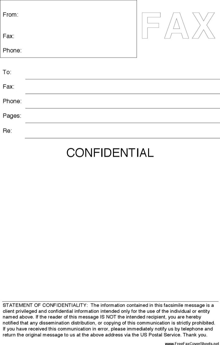 cover sheet templates premium templates forms confidential fax cover sheet template