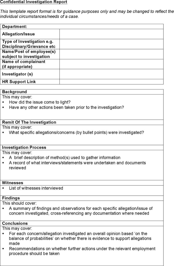 investigation report template – Homicide Report Template