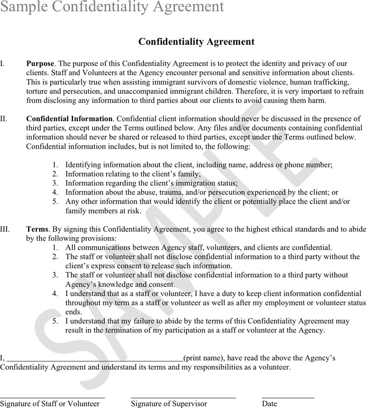 Confidentiality Agreement Sample 2