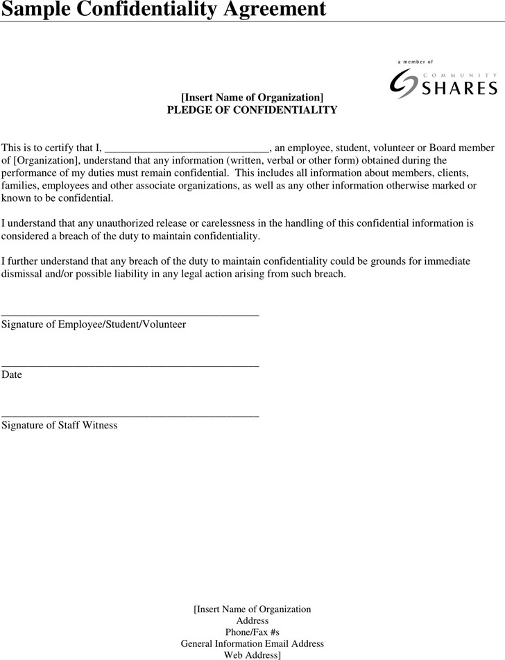 Confidentiality Agreement Sample 3