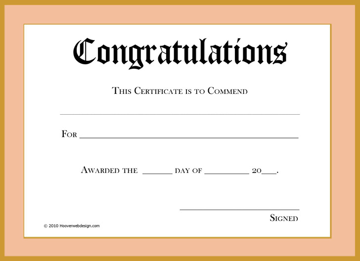 Congratulations Certificate 1