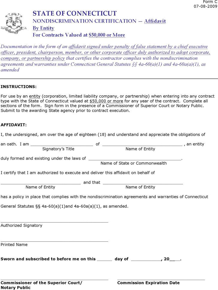 Connecticut Affidavit by Entity Form