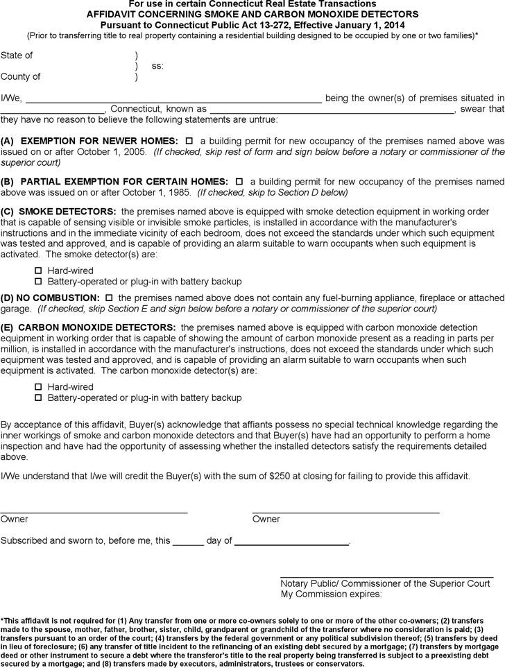 Connecticut Affidavit Concerning Smoke and Carbon Monoxide Detectors Form