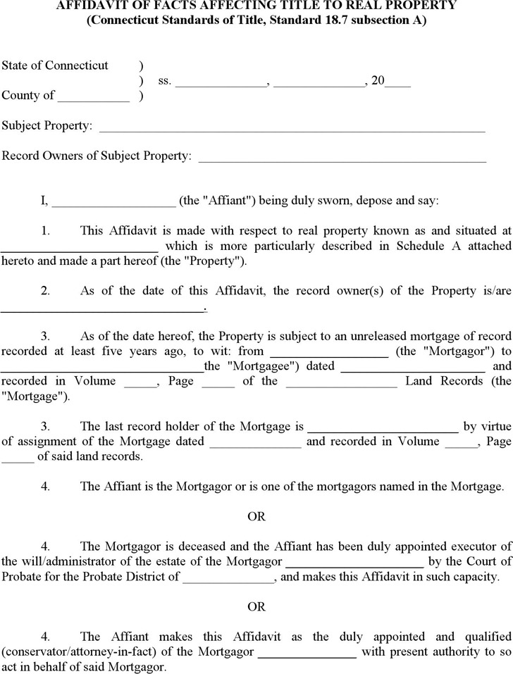 Connecticut Affidavit of Facts Affecting Title to Real Property Form