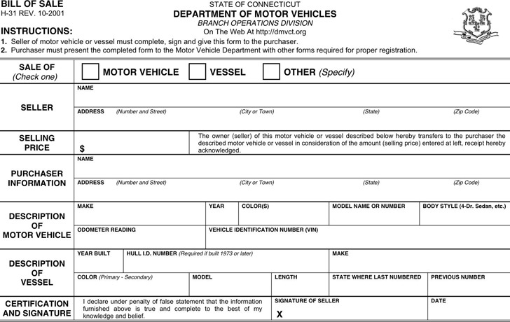 Connecticut Motor Vehicle Bill of Sale Form