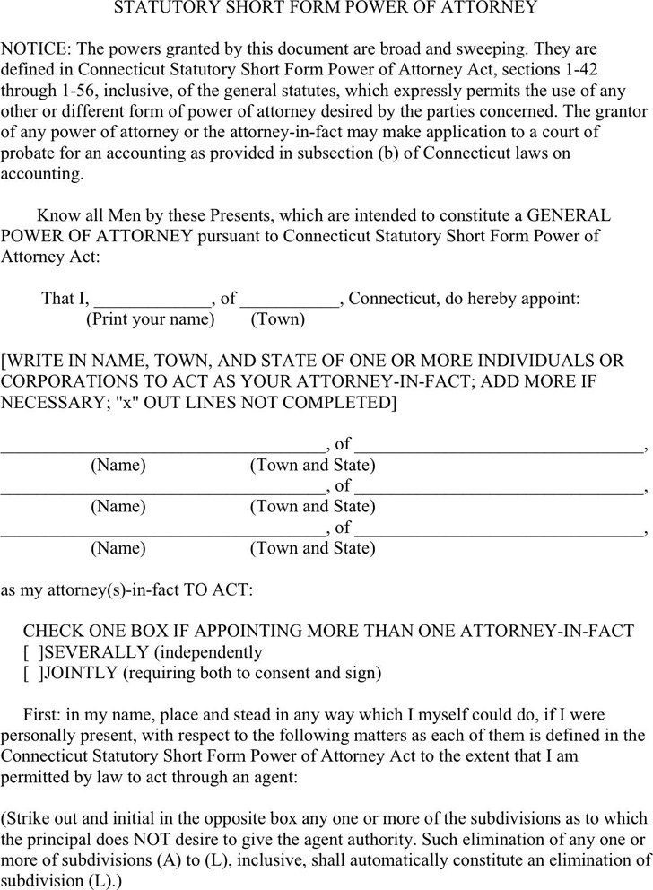 Connecticut Statutory Power of Attorney Form