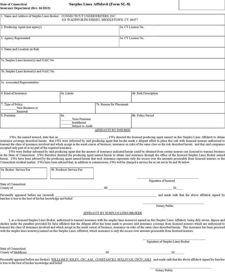 Connecticut Surplus Lines Affidavit Form
