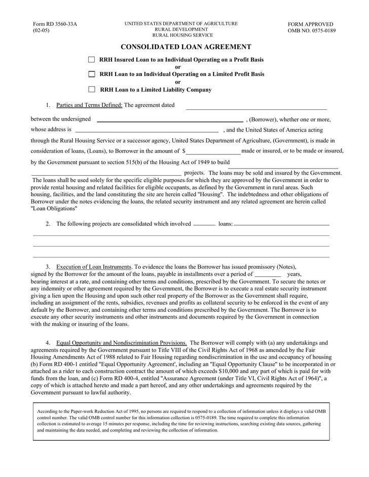 Consolidated Loan Contract PDF Format Free Template