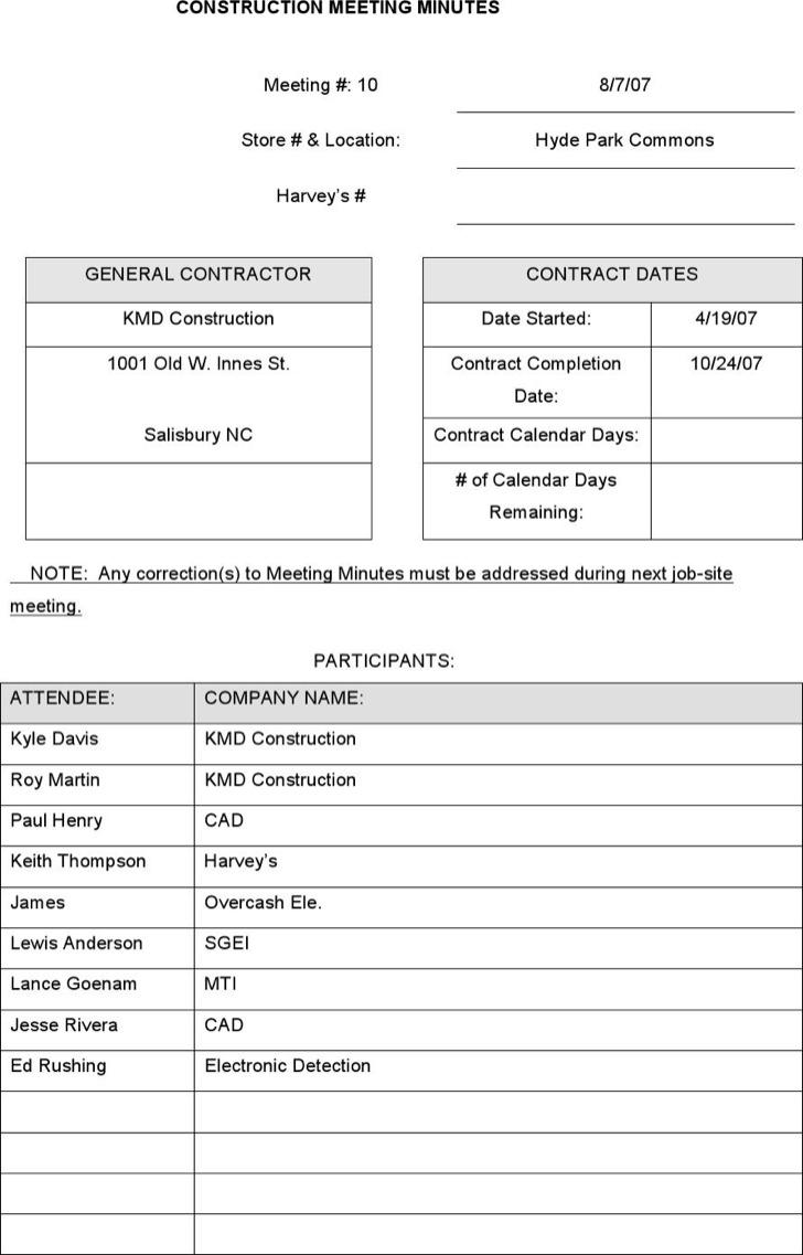 Meeting minute templates download free premium templates construction project meeting minutes template download alramifo Choice Image