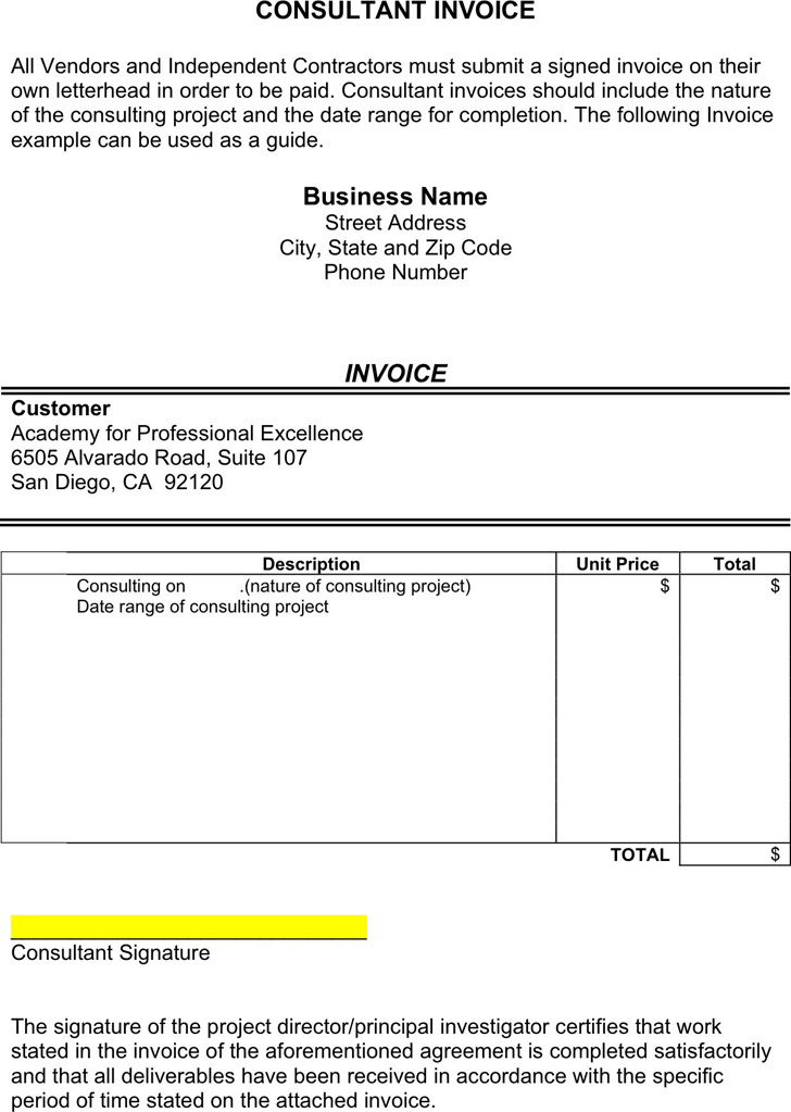 Consultant Template. consulting invoice template download free ...