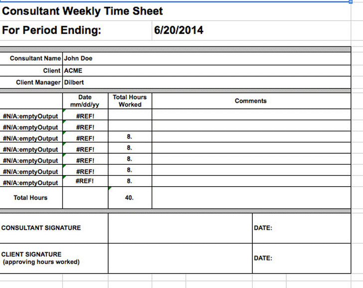 Consultant Timesheet Template | Download Free & Premium Templates