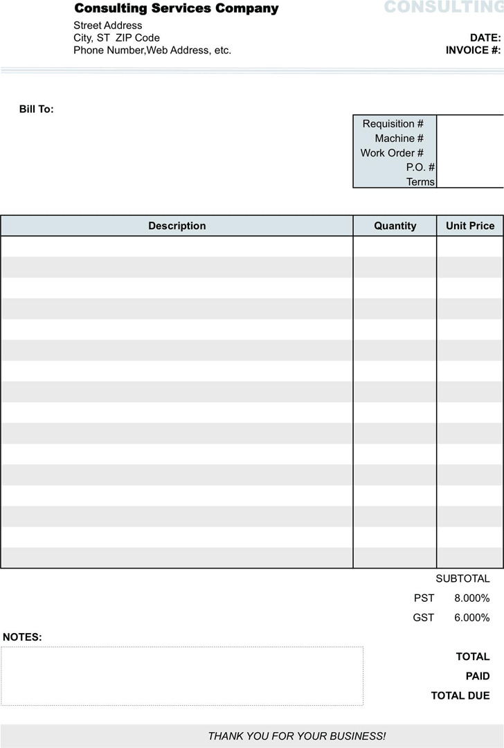 Consulting Invoice Form