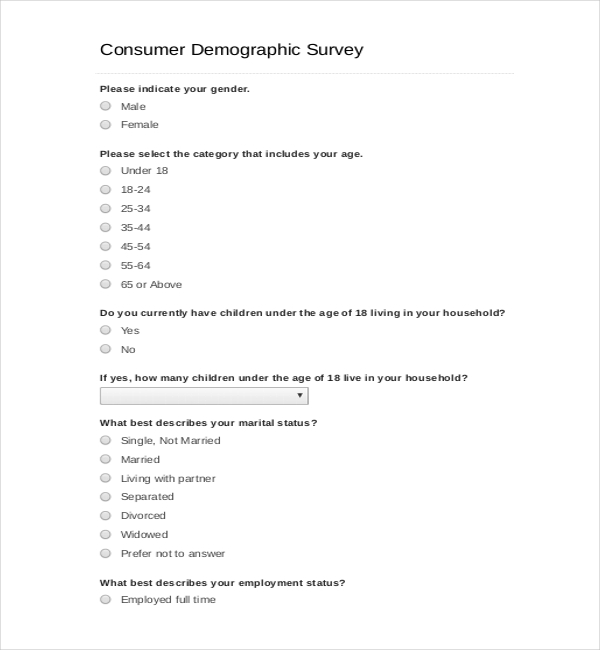 demographic survey template download free premium templates forms samples for jpeg png. Black Bedroom Furniture Sets. Home Design Ideas