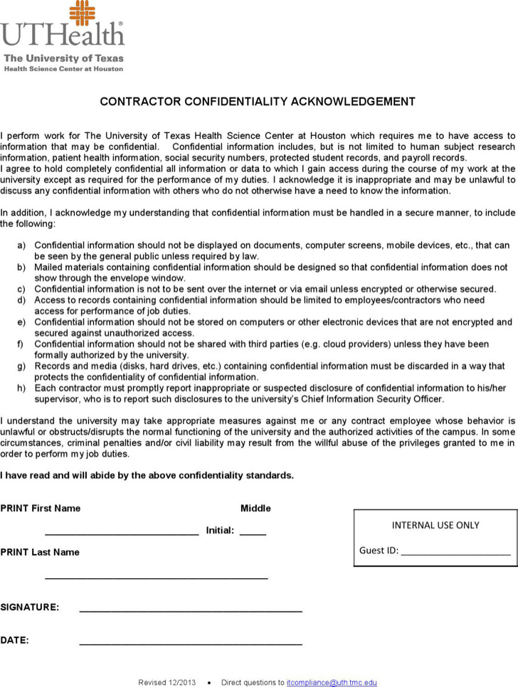 Contractor Confidentiality Agreement  Download Free  Premium