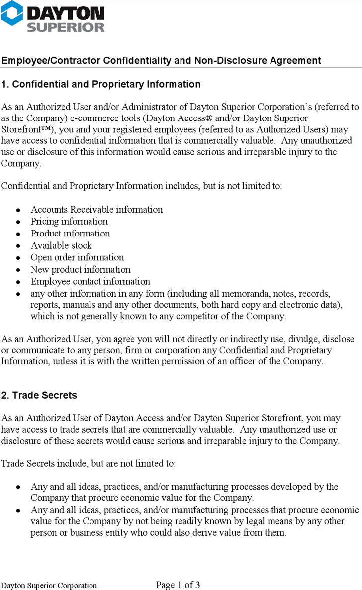 Contractor Confidentiality Agreement – Contractor Confidentiality Agreement