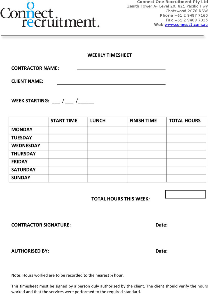 Contractor Timesheet Templates  Download Free  Premium Templates