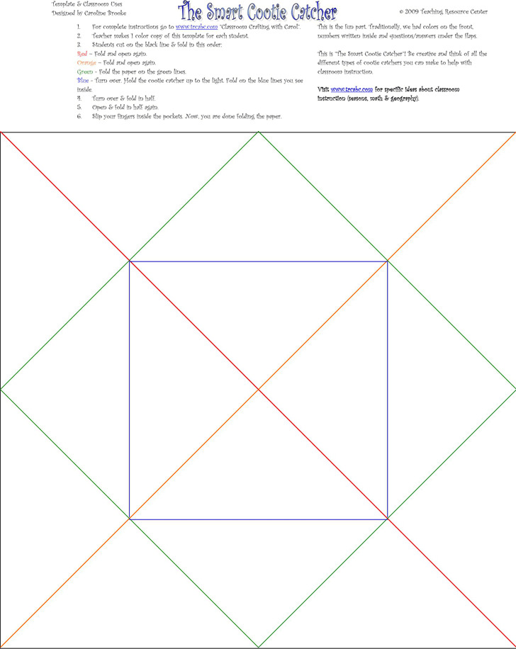 Cootie Catcher Template 2