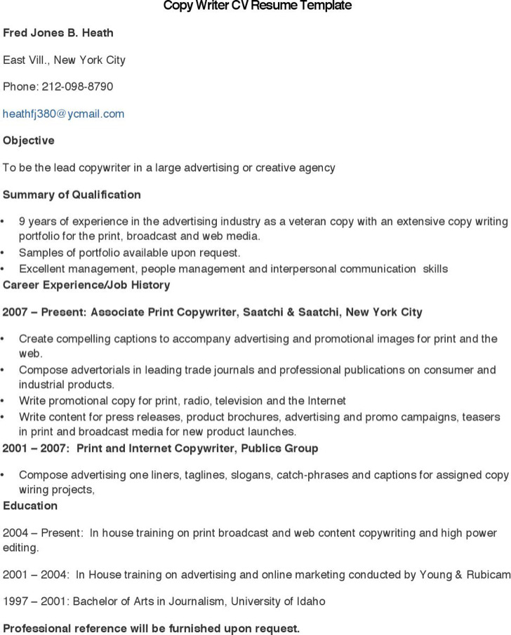Copy Writer Cv Resume Template