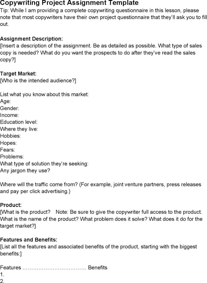 Copy Writing Assignment Template