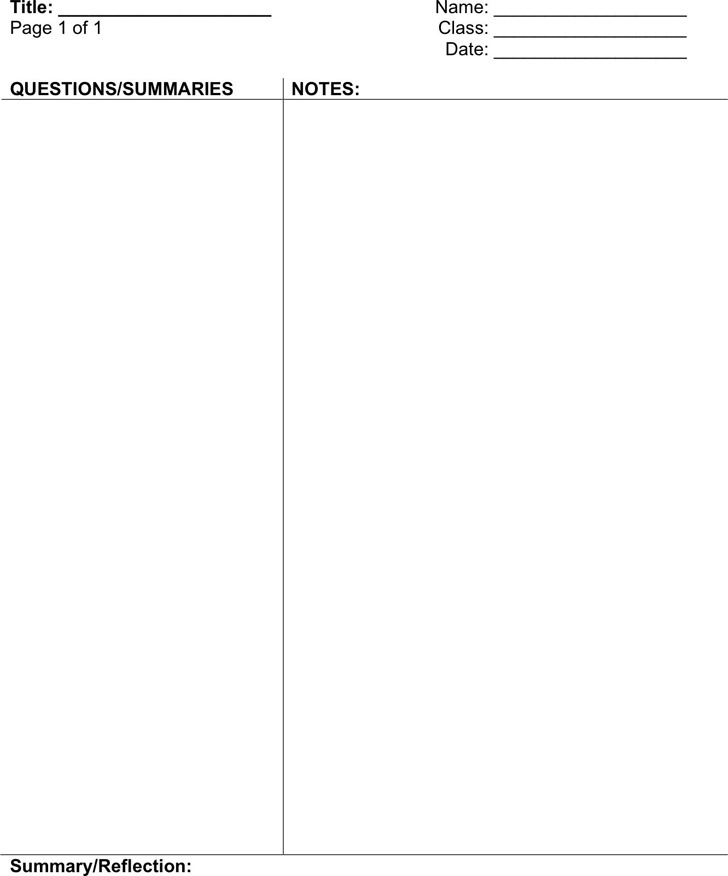 Cornell Notes Template  Download Free  Premium Templates Forms