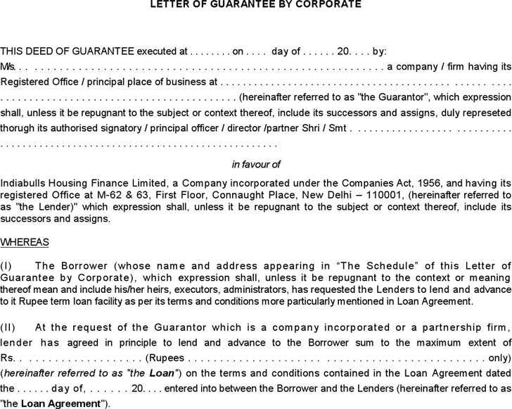 Corporate Guarantee Form 3