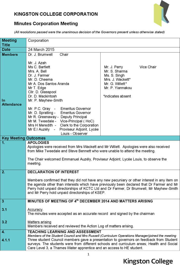 Corporate Minutes Meeting Template