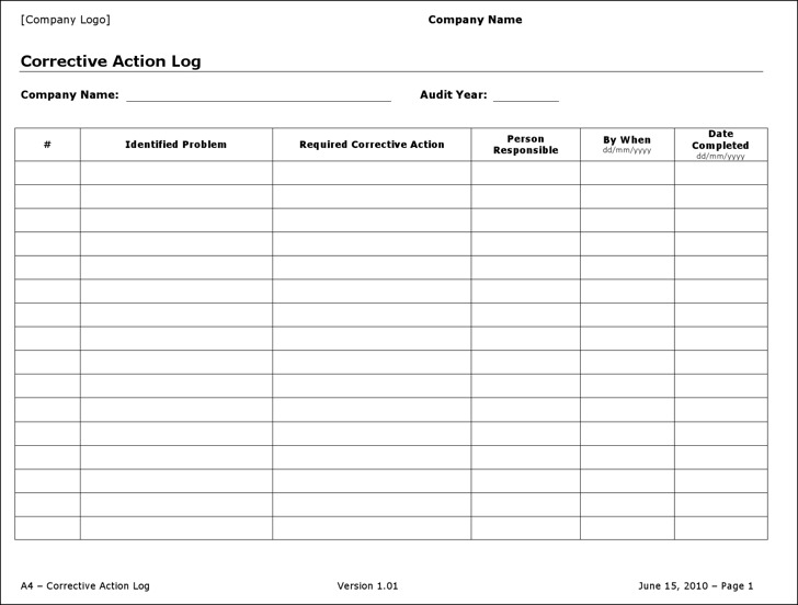 Action Log Templates  Download Free  Premium Templates Forms