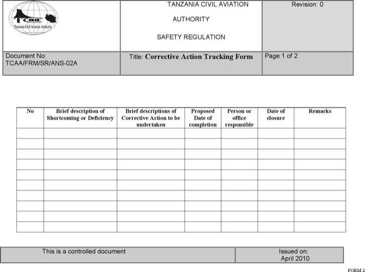 Corrective Action Tracking Template1