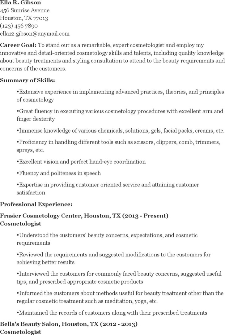 5 Cosmetology Resume Templates Free Download