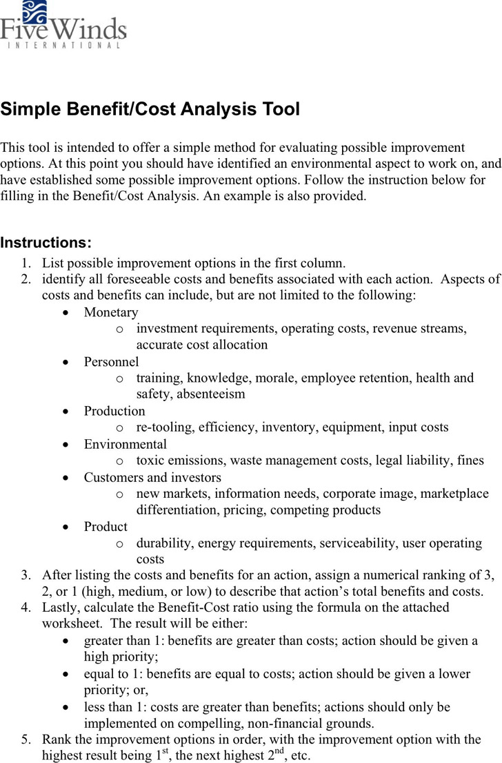 Cost Benefit Analysis Example – Cost Benefit Analysis Format