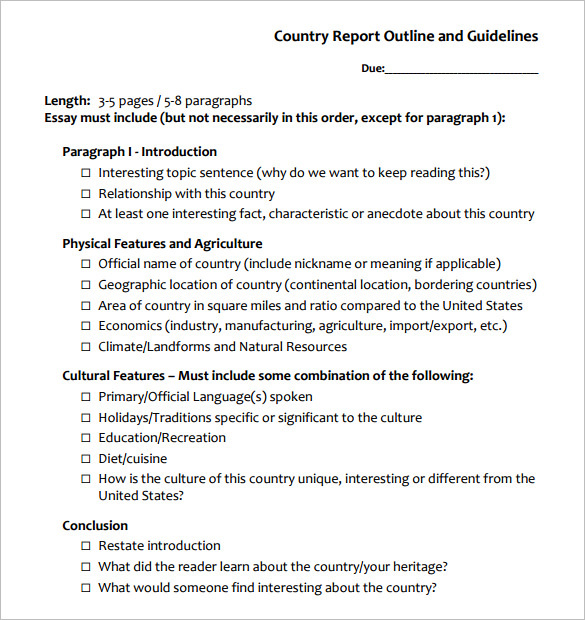 Country Report Outline Template Download