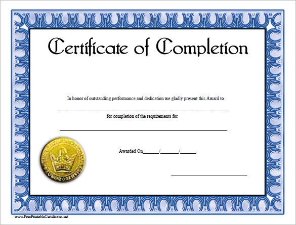 Completion certificate template download free premium for Course certificate template word